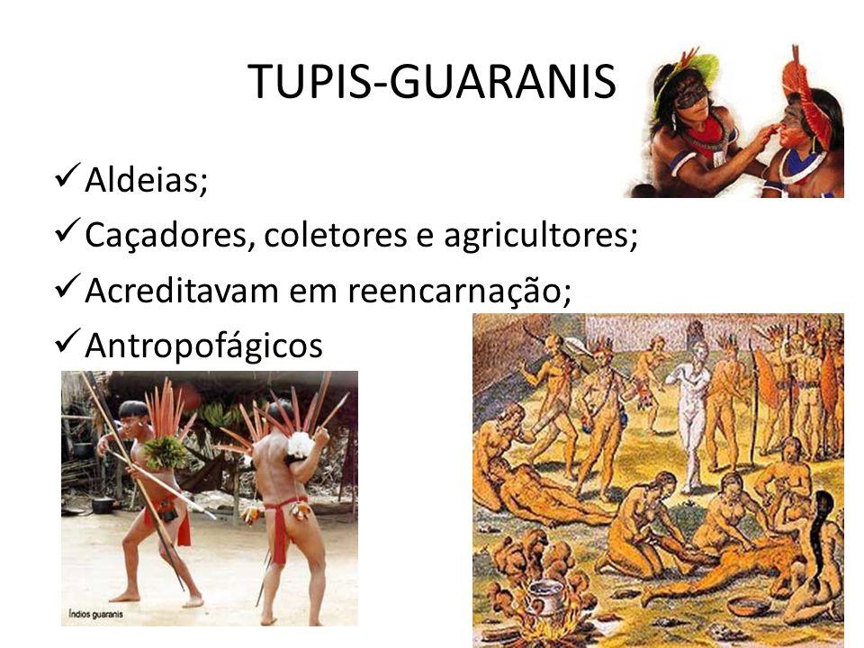 TUPIS-GUARANIS Aldeias; Caçadores, coletores e agricultores; Acreditavam em reencarnação; Antropofágicos