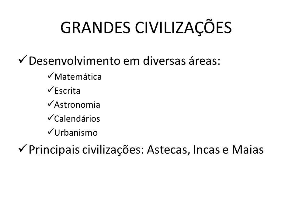 GRANDES CIVILIZAÇÕES Desenvolvimento em diversas áreas: Matemática Escrita Astronomia Calendários Urbanismo Principais civilizações: Astecas, Incas e