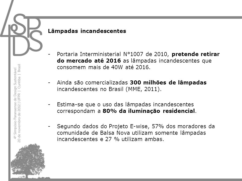 Lâmpadas incandescentes -Portaria Interministerial N°1007 de 2010, pretende retirar do mercado até 2016 as lâmpadas incandescentes que consomem mais d