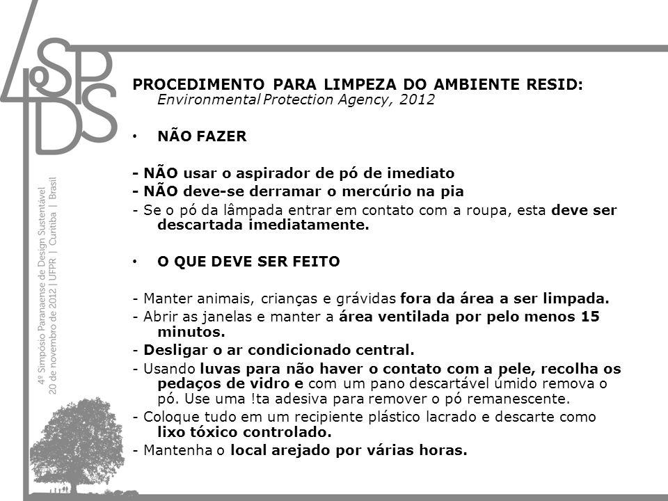 PROCEDIMENTO PARA LIMPEZA DO AMBIENTE RESID: Environmental Protection Agency, 2012 NÃO FAZER - NÃO usar o aspirador de pó de imediato - NÃO deve-se de