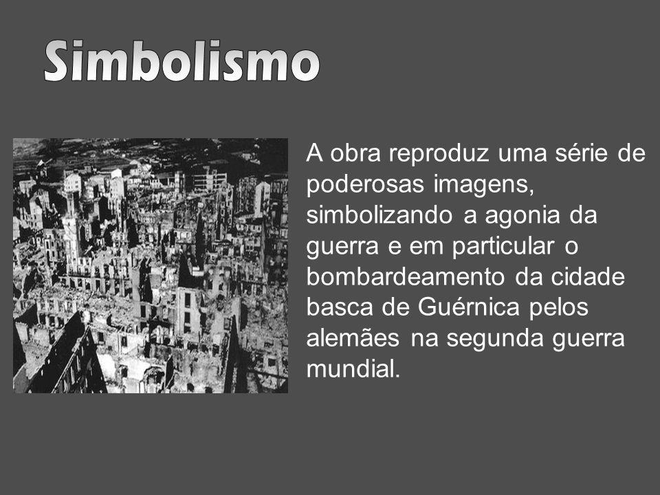 A obra reproduz uma série de poderosas imagens, simbolizando a agonia da guerra e em particular o bombardeamento da cidade basca de Guérnica pelos ale