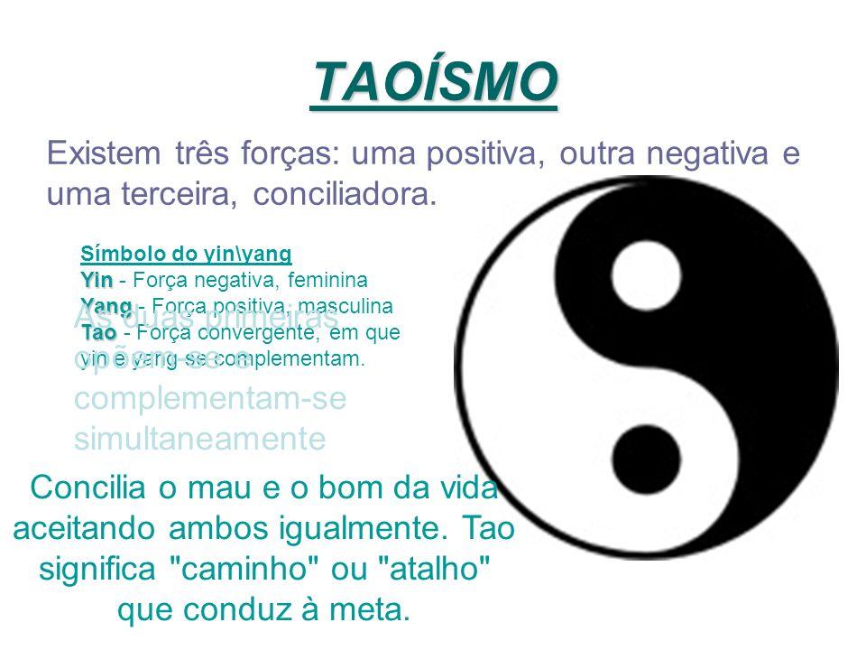TAOÍSMO Existem três forças: uma positiva, outra negativa e uma terceira, conciliadora. Símbolo do yin\yang Yin Yin - Força negativa, feminina Yang Ya