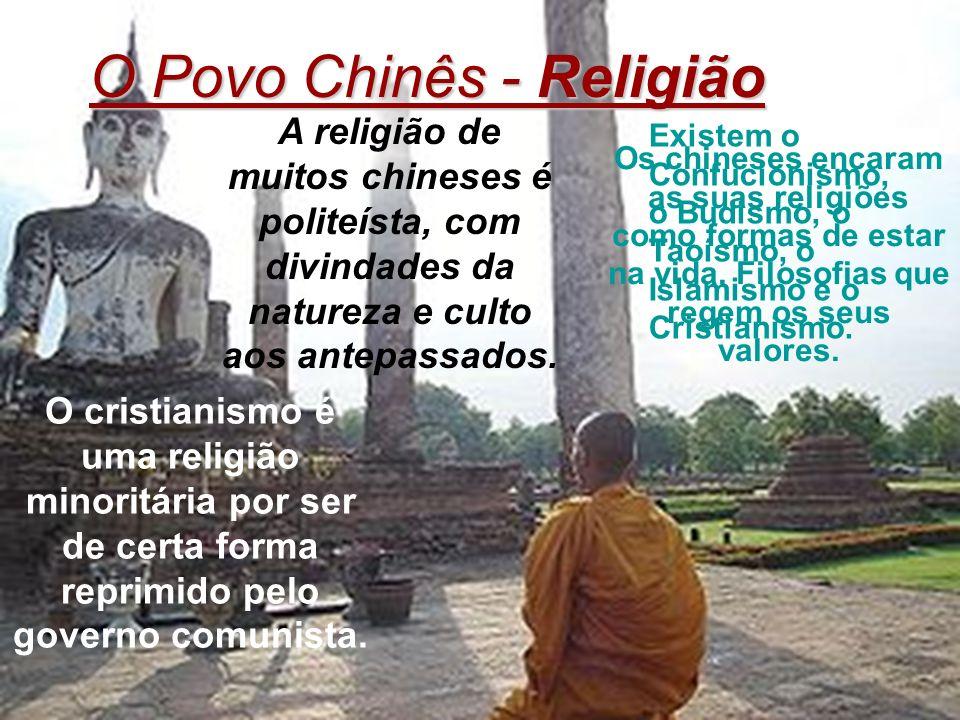 Existem o Confucionismo, o Budismo, o Taoísmo, o Islamismo e o Cristianismo. O cristianismo é uma religião minoritária por ser de certa forma reprimid