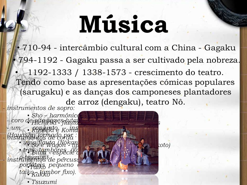 Música 1192-1333 / 1338-1573 - crescimento do teatro. Tendo como base as apresentações cómicas populares (sarugaku) e as danças dos camponeses plantad