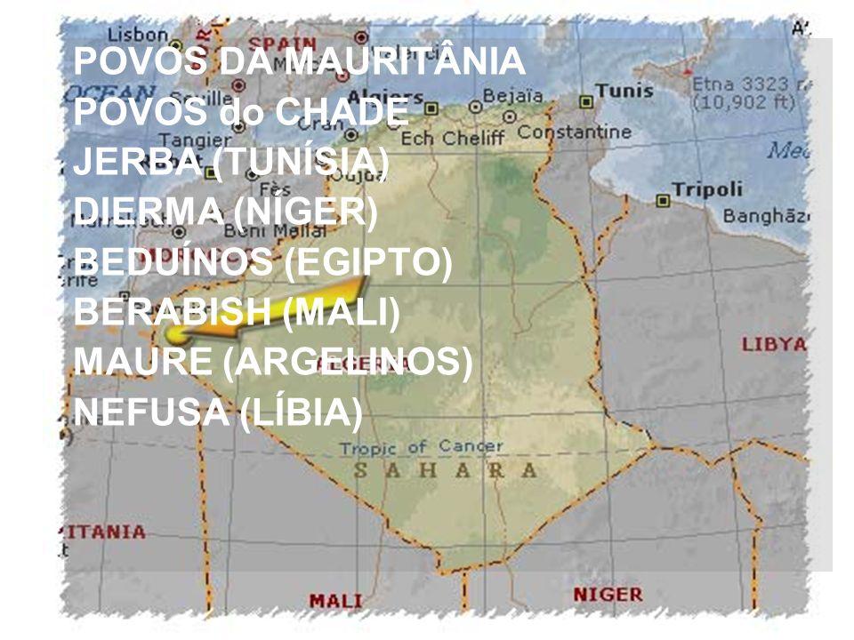 POVOS DA MAURITÂNIA POVOS do CHADE JERBA (TUNÍSIA) DIERMA (NÍGER) BEDUÍNOS (EGIPTO) BERABISH (MALI) MAURE (ARGELINOS) NEFUSA (LÍBIA)