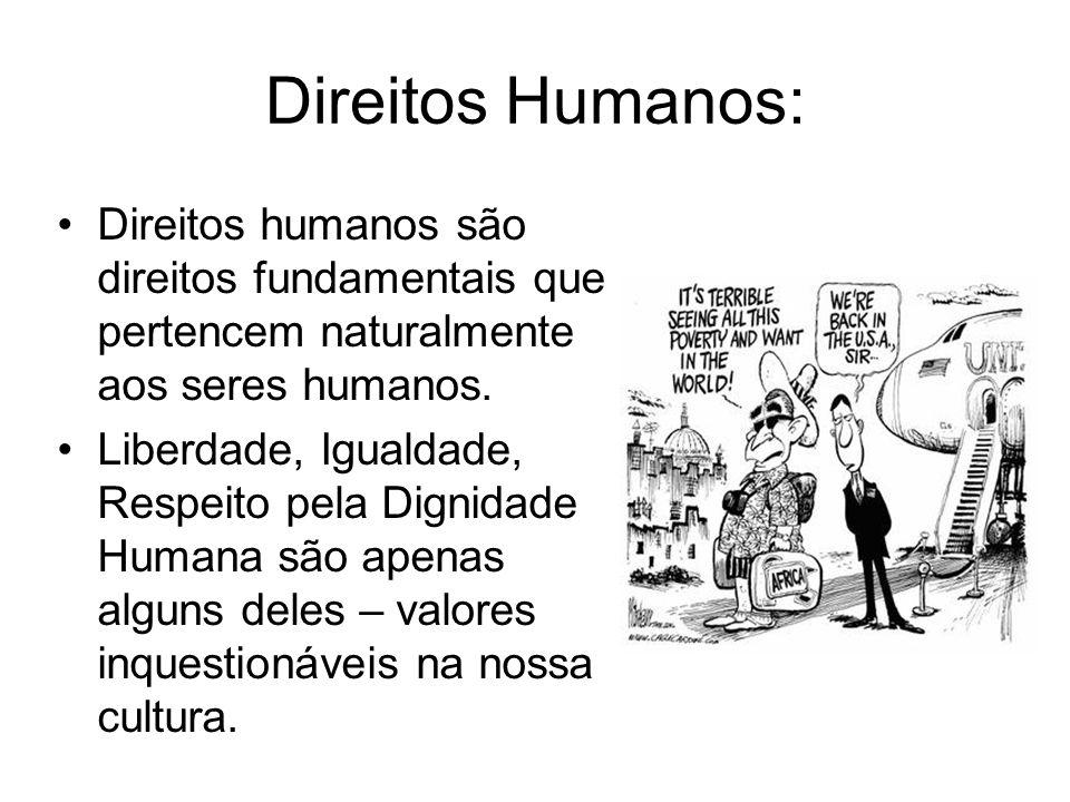 Direitos Humanos: Direitos humanos são direitos fundamentais que pertencem naturalmente aos seres humanos. Liberdade, Igualdade, Respeito pela Dignida