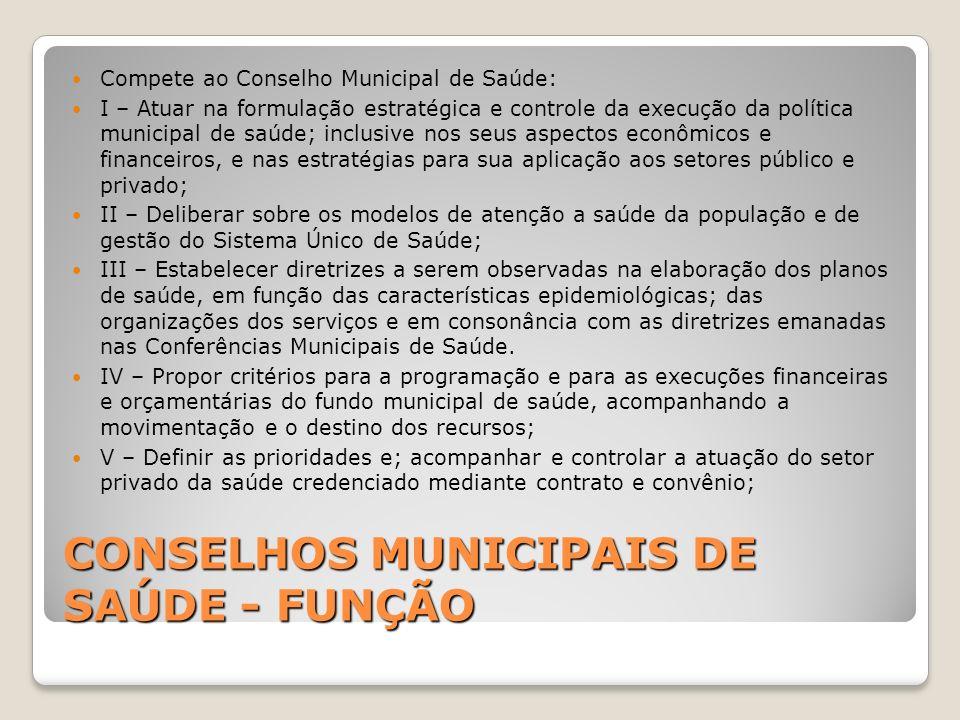 CONSELHOS MUNICIPAIS DE SAÚDE - FUNÇÃO Compete ao Conselho Municipal de Saúde: I – Atuar na formulação estratégica e controle da execução da política
