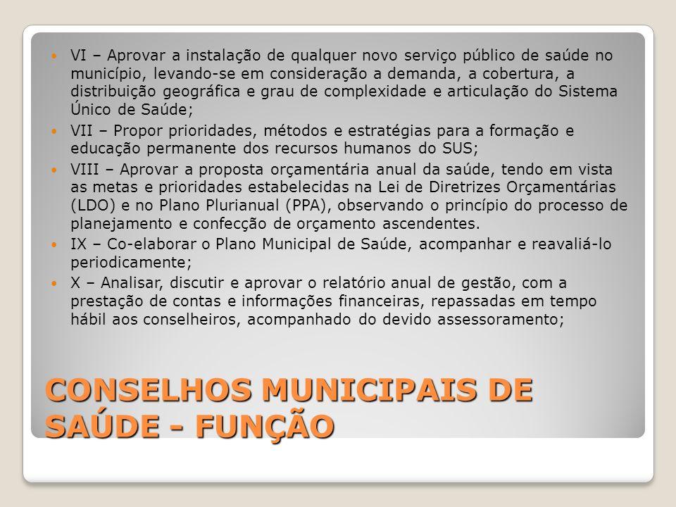 CONSELHOS MUNICIPAIS DE SAÚDE - FUNÇÃO VI – Aprovar a instalação de qualquer novo serviço público de saúde no município, levando-se em consideração a