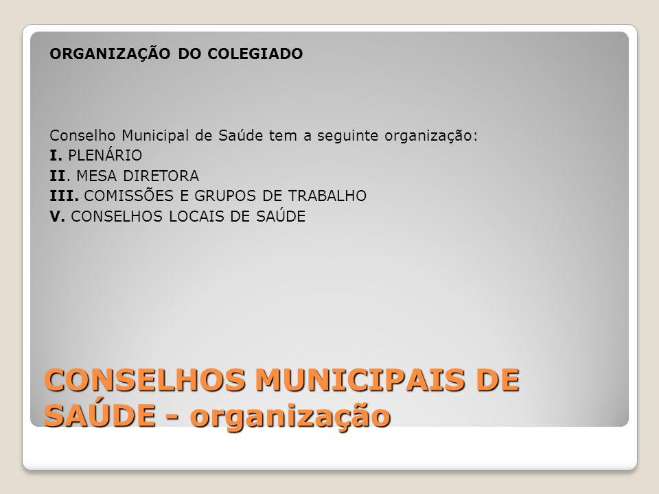 CONSELHOS MUNICIPAIS DE SAÚDE - organização ORGANIZAÇÃO DO COLEGIADO Conselho Municipal de Saúde tem a seguinte organização: I. PLENÁRIO II. MESA DIRE