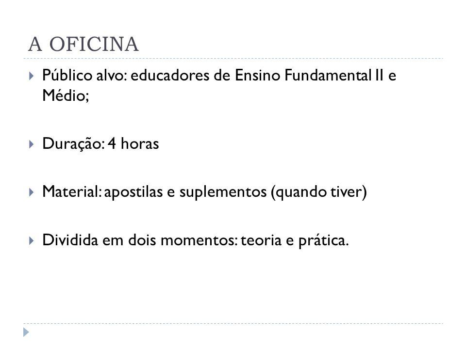 A OFICINA Público alvo: educadores de Ensino Fundamental II e Médio; Duração: 4 horas Material: apostilas e suplementos (quando tiver) Dividida em doi