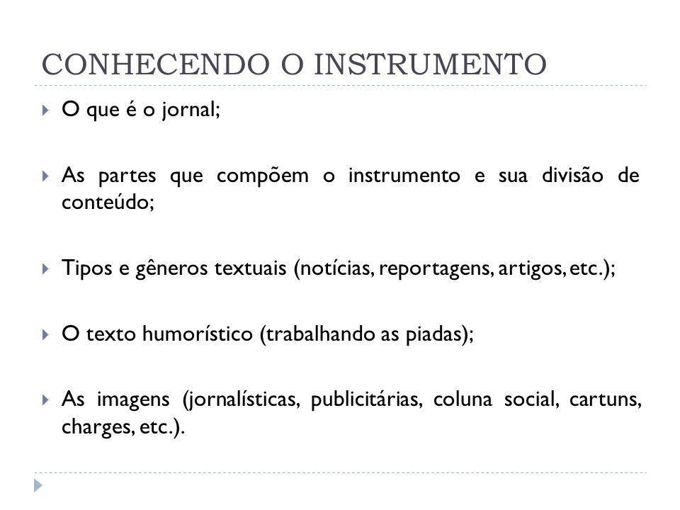 CONHECENDO O INSTRUMENTO O que é o jornal; As partes que compõem o instrumento e sua divisão de conteúdo; Tipos e gêneros textuais (notícias, reportag