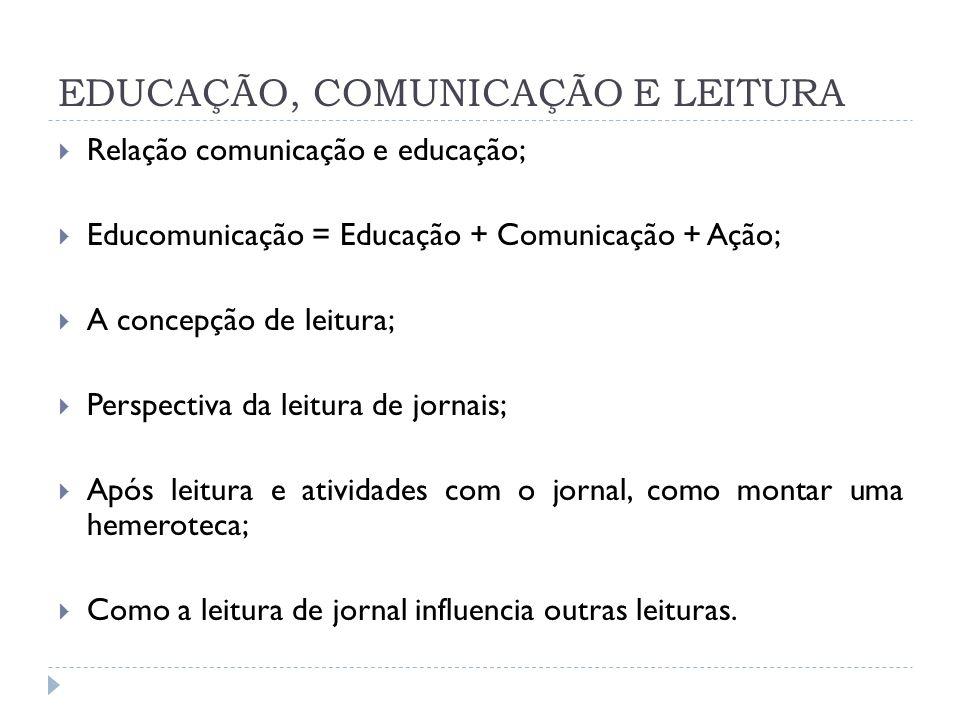 EDUCAÇÃO, COMUNICAÇÃO E LEITURA Relação comunicação e educação; Educomunicação = Educação + Comunicação + Ação; A concepção de leitura; Perspectiva da