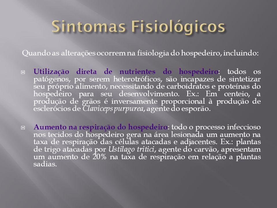 Quando as alterações ocorrem na fisiologia do hospedeiro, incluindo: Utilização direta de nutrientes do hospedeiro : todos os patógenos, por serem het