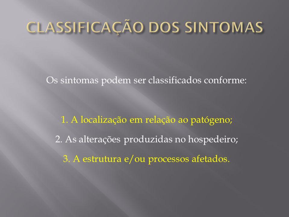 Os sintomas podem ser classificados conforme: 1. A localização em relação ao patógeno; 2. As alterações produzidas no hospedeiro; 3. A estrutura e/ou