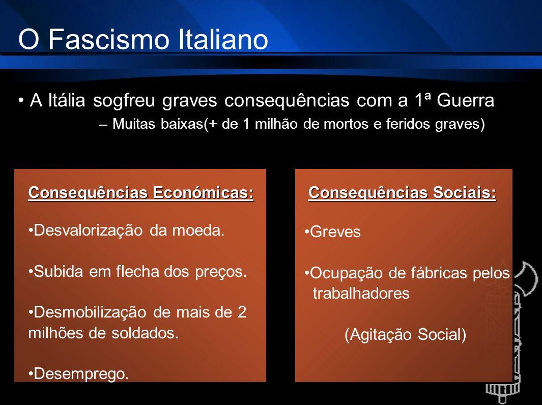 O Fascismo Italiano A Itália sogfreu graves consequências com a 1ª Guerra –Muitas baixas(+ de 1 milhão de mortos e feridos graves) Consequências Econó