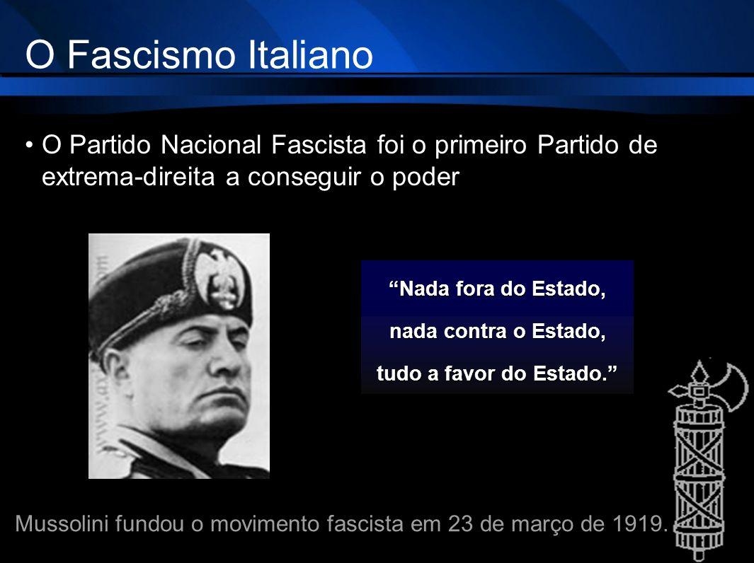 O Fascismo Italiano O Partido Nacional Fascista foi o primeiro Partido de extrema-direita a conseguir o poder Nada fora do Estado, nada contra o Estad