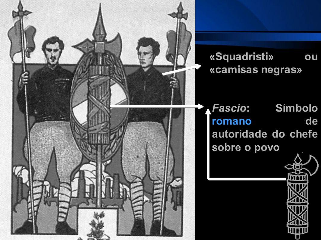 Fascio: Símbolo romano de autoridade do chefe sobre o povo «Squadristi» ou «camisas negras»
