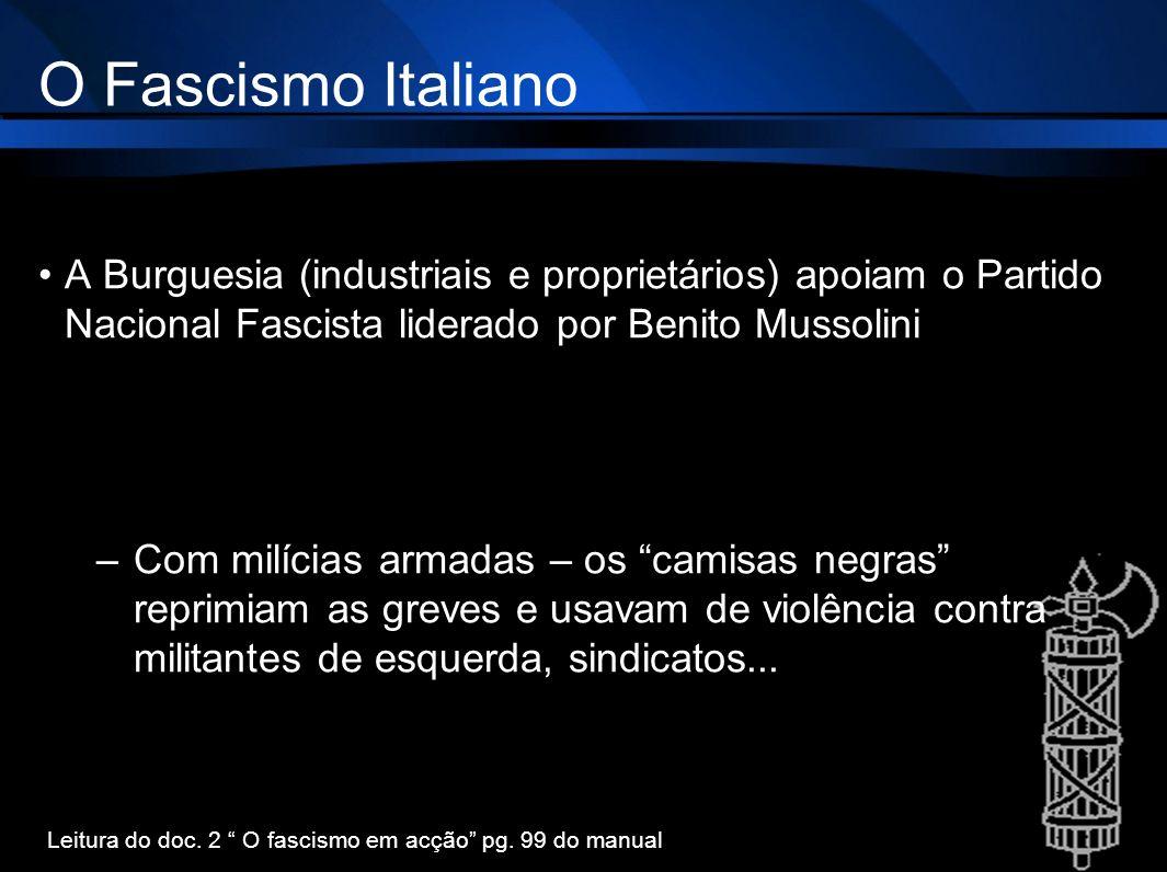 O Fascismo Italiano A Burguesia (industriais e proprietários) apoiam o Partido Nacional Fascista liderado por Benito Mussolini –Com milícias armadas –