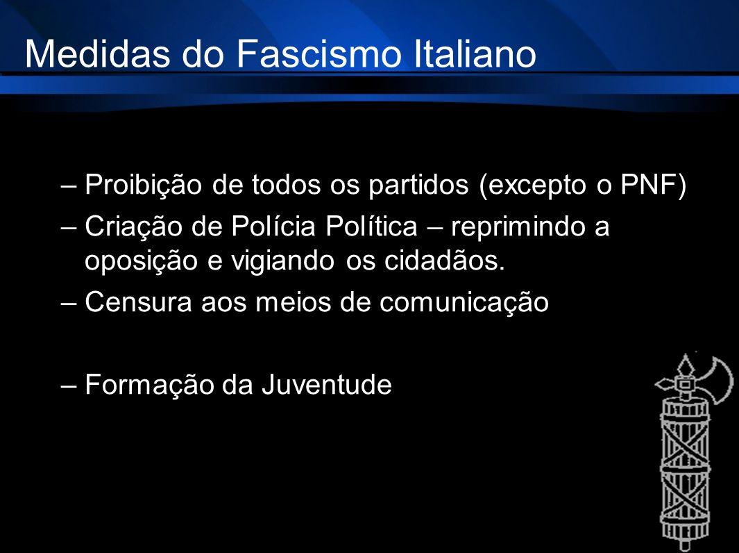 Medidas do Fascismo Italiano –Proibição de todos os partidos (excepto o PNF) –Criação de Polícia Política – reprimindo a oposição e vigiando os cidadã