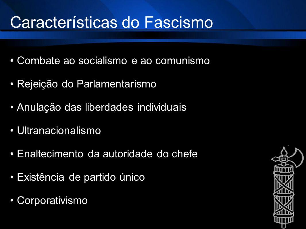 Características do Fascismo Combate ao socialismo e ao comunismo Rejeição do Parlamentarismo Anulação das liberdades individuais Ultranacionalismo Ena