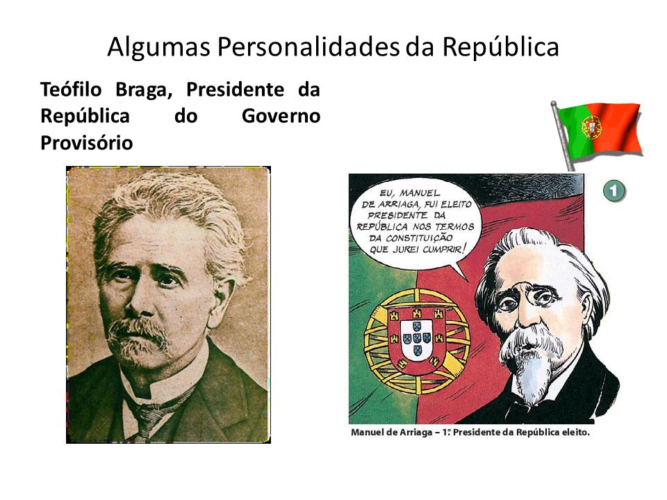 Algumas Personalidades da República Teófilo Braga, Presidente da República do Governo Provisório