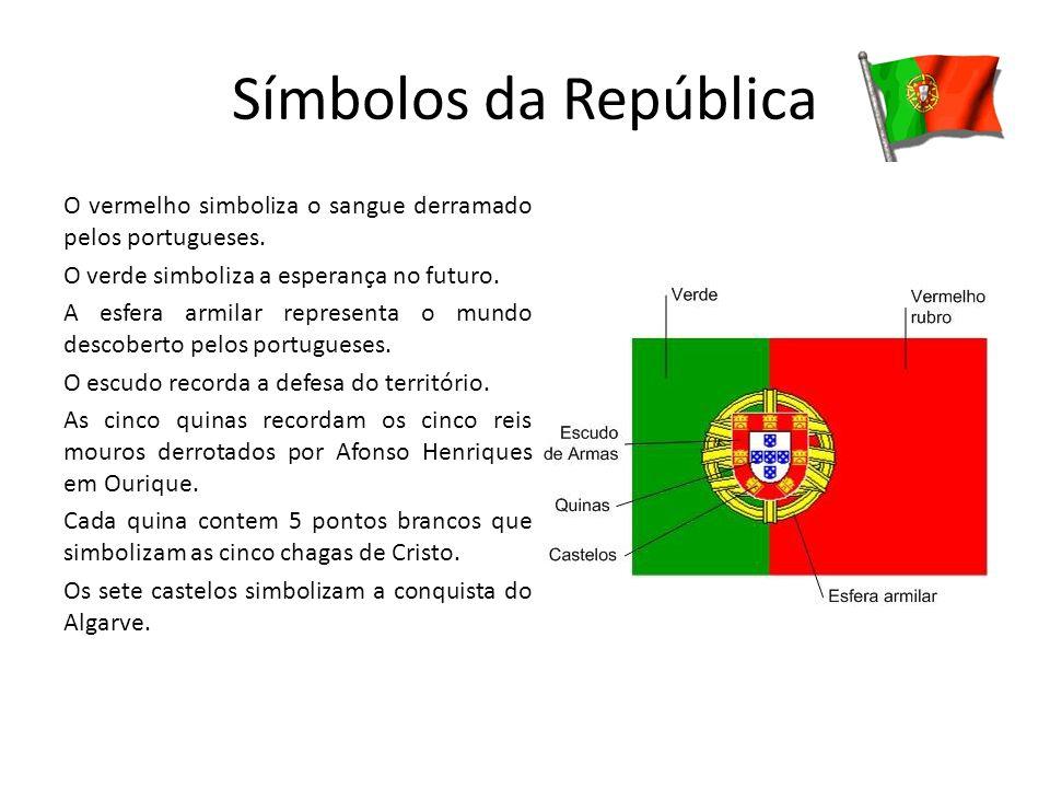 Símbolos da República O vermelho simboliza o sangue derramado pelos portugueses. O verde simboliza a esperança no futuro. A esfera armilar representa