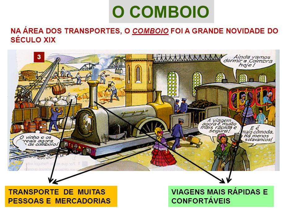 O COMBOIO NA ÁREA DOS TRANSPORTES, O COMBOIO FOI A GRANDE NOVIDADE DO SÉCULO XIX TRANSPORTE DE MUITAS PESSOAS E MERCADORIAS VIAGENS MAIS RÁPIDAS E CON