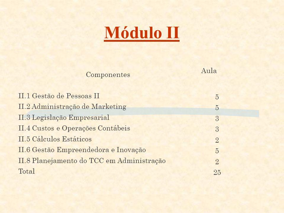 Módulo I Componentes Aulas I.1 Gestão de Pessoas I 3 I.2 Cálculos Financeiros 4 I.3 Gestão Empresarial 5 I.4 Ética e Cidadania Organizacional 2 I.5 Ap