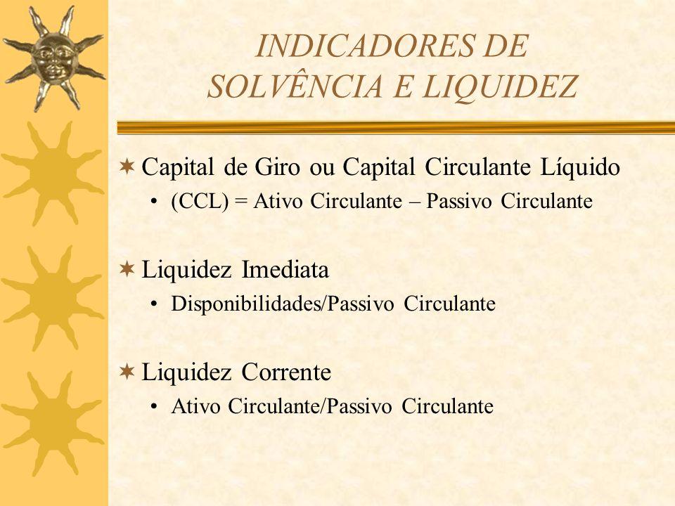 INDICADORES DE SOLVÊNCIA E LIQUIDEZ Capital de Giro ou Capital Circulante Líquido (CCL) = Ativo Circulante – Passivo Circulante Liquidez Imediata Disp