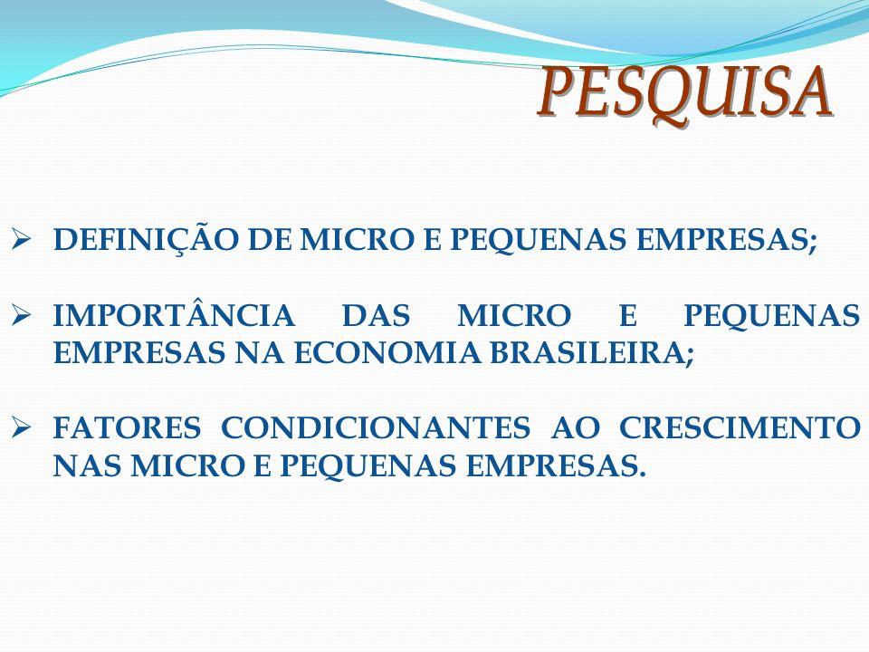 DEFINIÇÃO DE MICRO E PEQUENAS EMPRESAS; IMPORTÂNCIA DAS MICRO E PEQUENAS EMPRESAS NA ECONOMIA BRASILEIRA; FATORES CONDICIONANTES AO CRESCIMENTO NAS MI