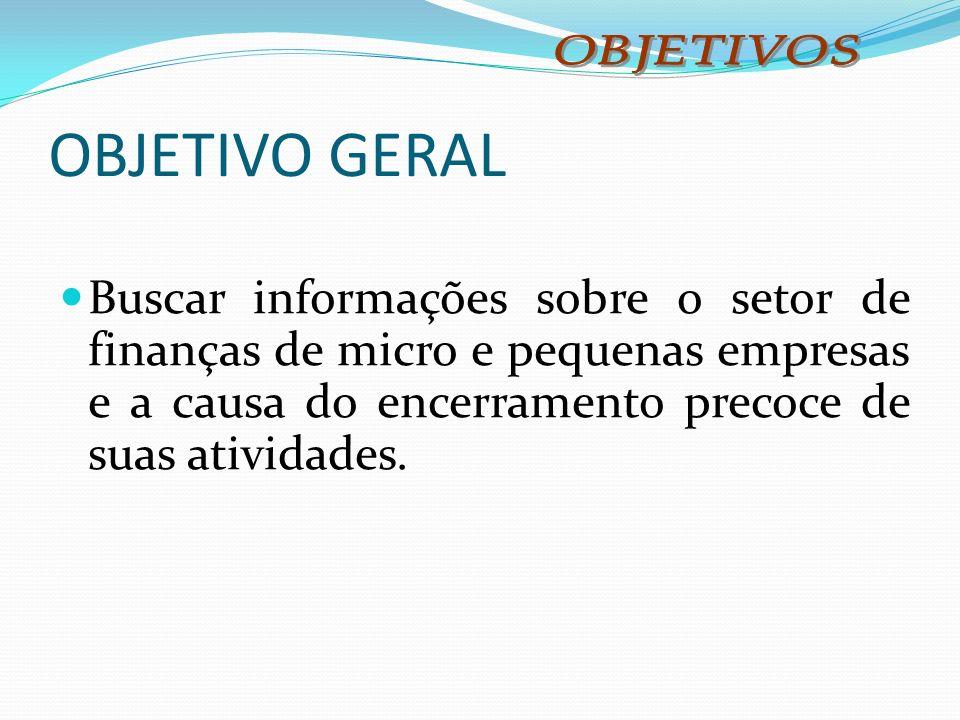 OBJETIVO GERAL Buscar informações sobre o setor de finanças de micro e pequenas empresas e a causa do encerramento precoce de suas atividades.