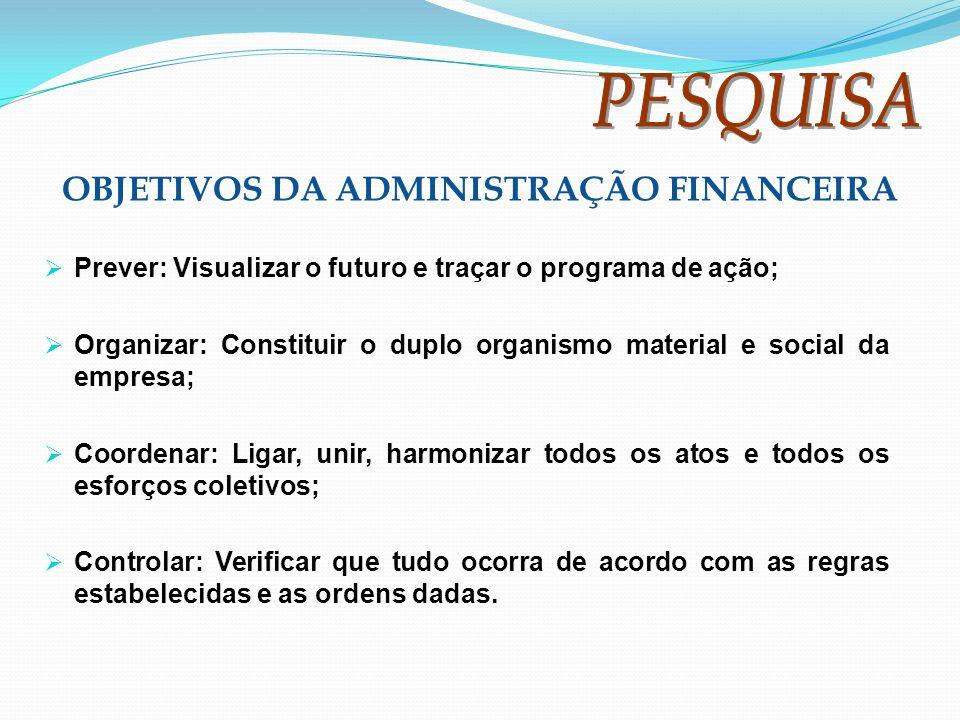 Prever: Visualizar o futuro e traçar o programa de ação; Organizar: Constituir o duplo organismo material e social da empresa; Coordenar: Ligar, unir,