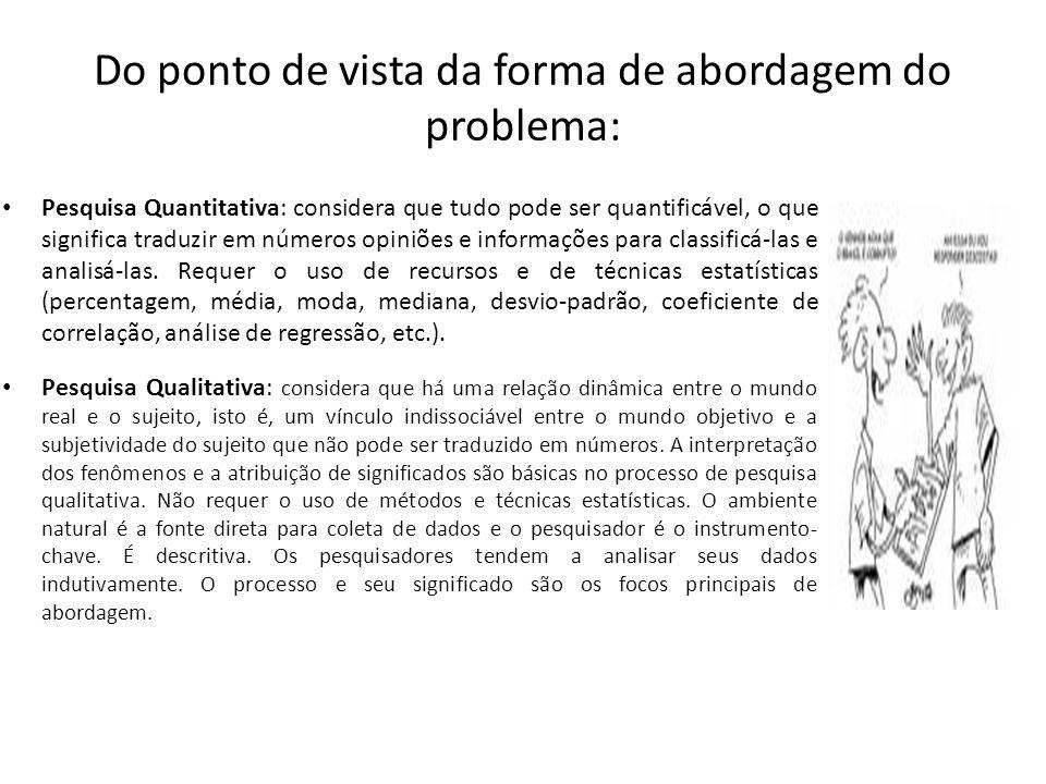 Do ponto de vista da forma de abordagem do problema: Pesquisa Quantitativa: considera que tudo pode ser quantificável, o que significa traduzir em núm