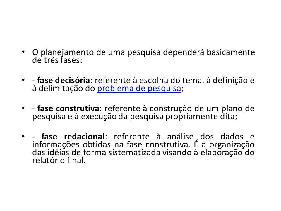 O planejamento de uma pesquisa dependerá basicamente de três fases: - fase decisória: referente à escolha do tema, à definição e à delimitação do prob