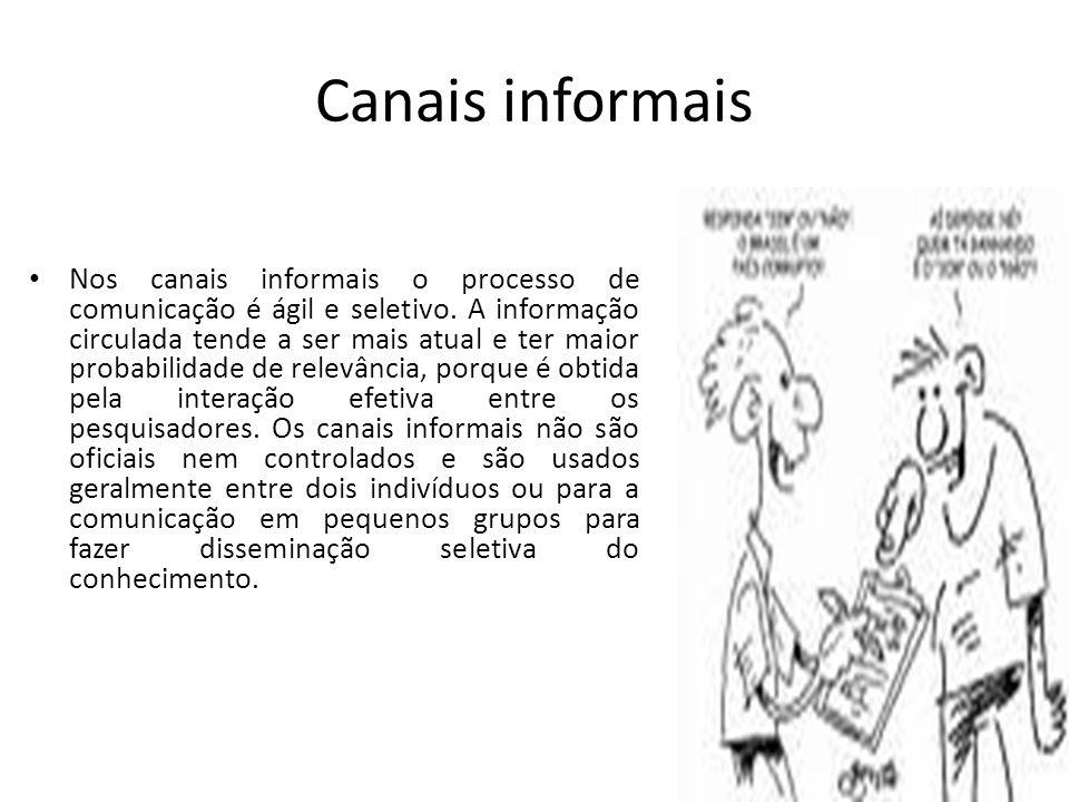 Canais informais Nos canais informais o processo de comunicação é ágil e seletivo. A informação circulada tende a ser mais atual e ter maior probabili