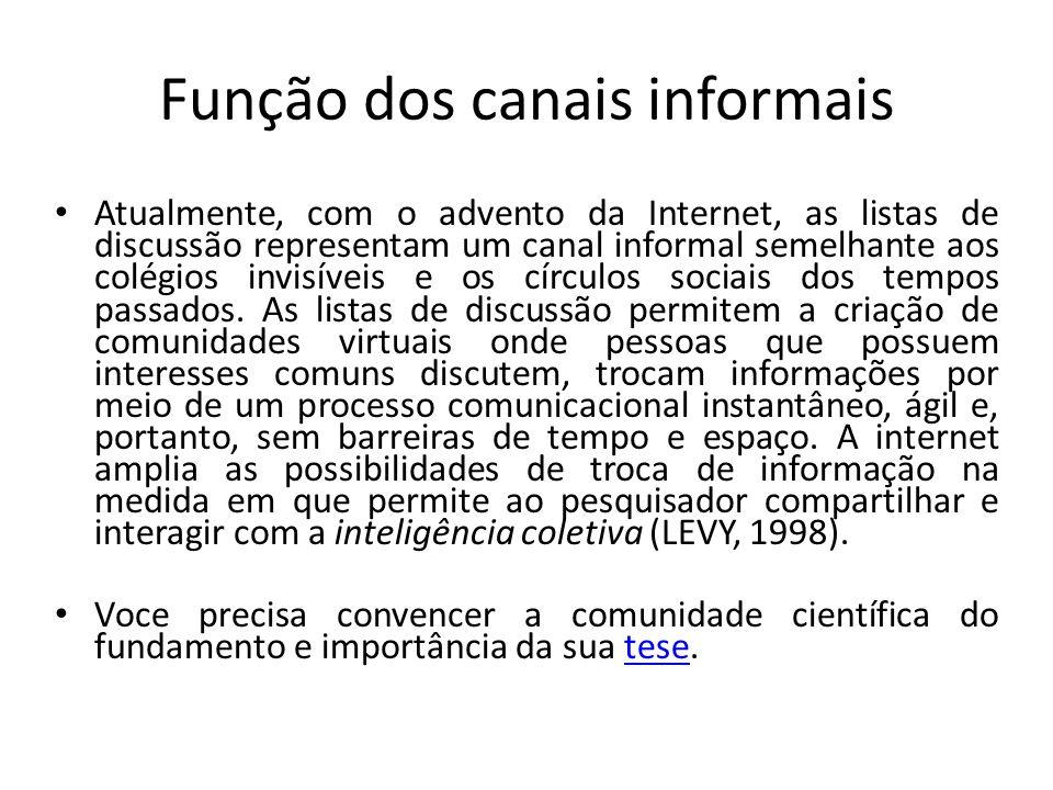 Função dos canais informais Atualmente, com o advento da Internet, as listas de discussão representam um canal informal semelhante aos colégios invisí