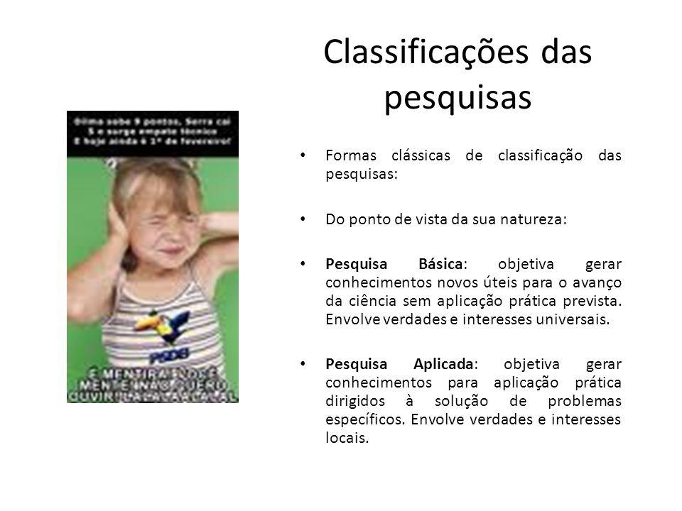 Classificações das pesquisas Formas clássicas de classificação das pesquisas: Do ponto de vista da sua natureza: Pesquisa Básica: objetiva gerar conhe