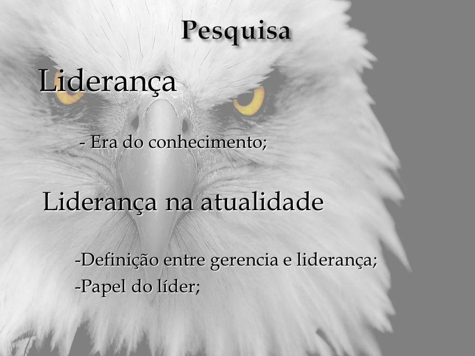 Liderança - Era do conhecimento; - Era do conhecimento; Liderança na atualidade Liderança na atualidade -Definição entre gerencia e liderança; -Defini