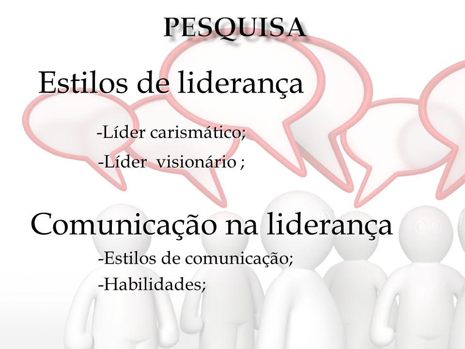 Estilos de liderança -Líder carismático; -Líder carismático; -Líder visionário ; -Líder visionário ; Comunicação na liderança -Estilos de comunicação;