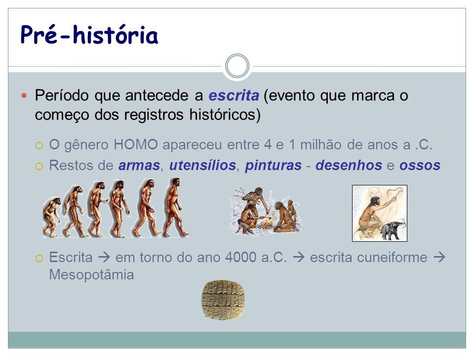 Pré-história Período que antecede a escrita (evento que marca o começo dos registros históricos) O gênero HOMO apareceu entre 4 e 1 milhão de anos a.C