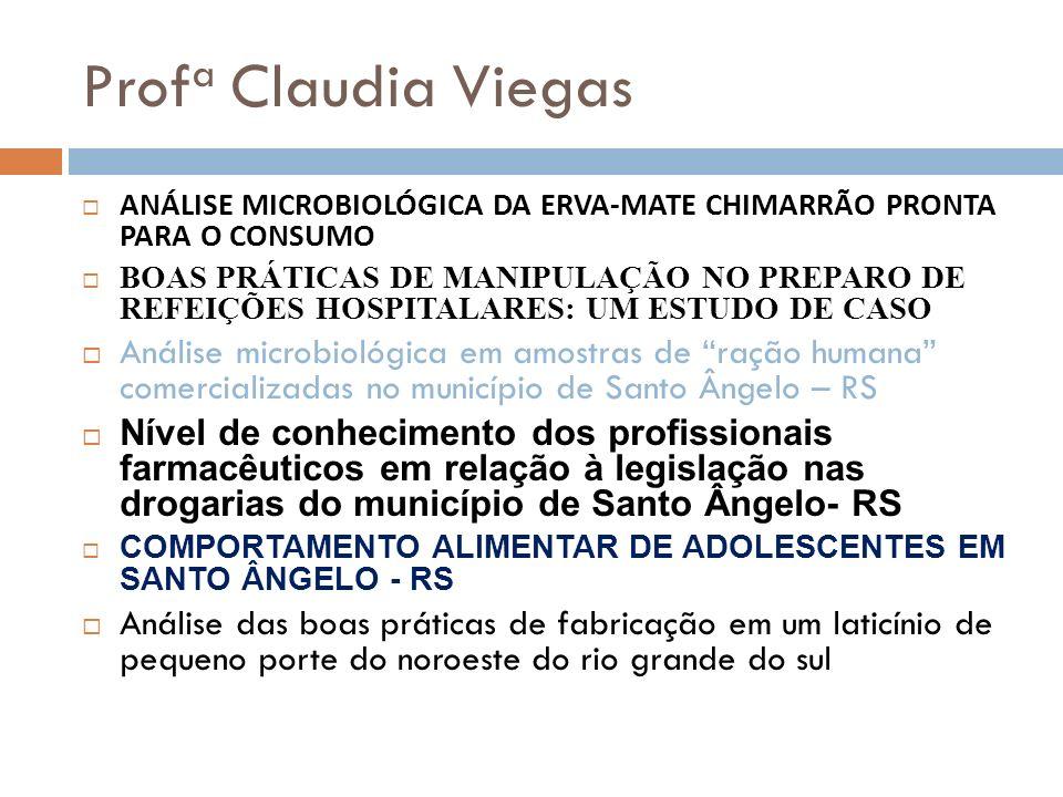 Prof a Claudia Viegas ANÁLISE MICROBIOLÓGICA DA ERVA-MATE CHIMARRÃO PRONTA PARA O CONSUMO BOAS PRÁTICAS DE MANIPULAÇÃO NO PREPARO DE REFEIÇÕES HOSPITA