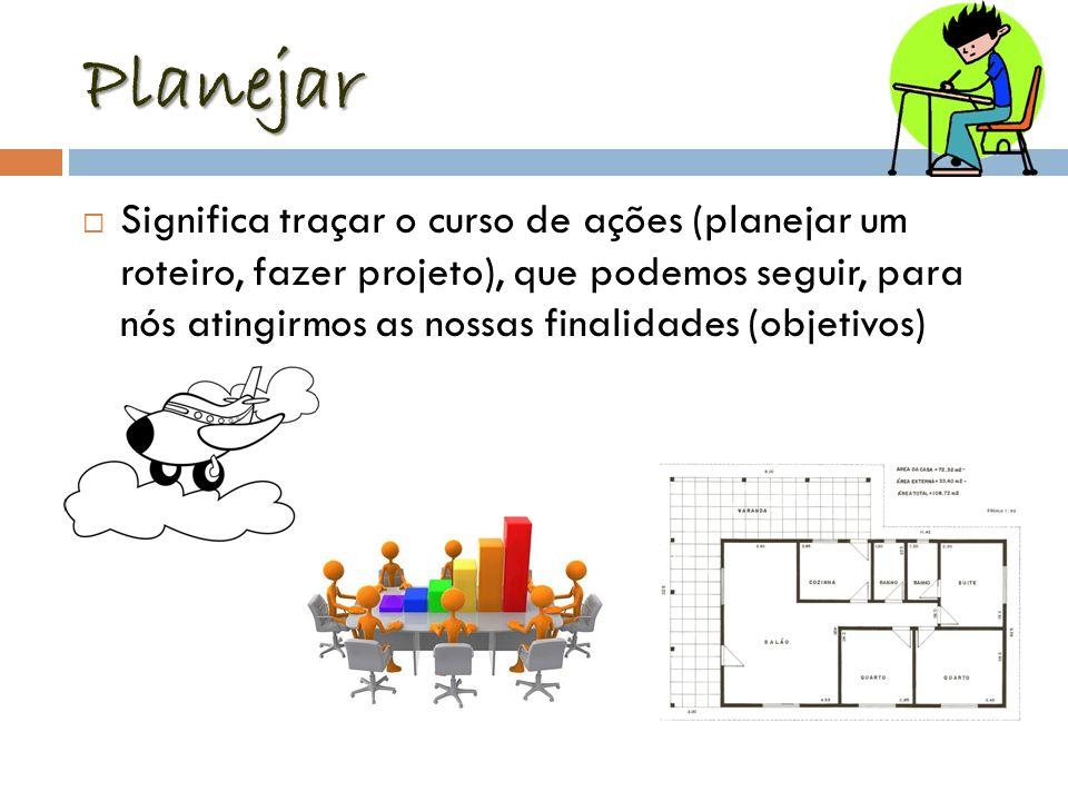 Planejar Significa traçar o curso de ações (planejar um roteiro, fazer projeto), que podemos seguir, para nós atingirmos as nossas finalidades (objeti