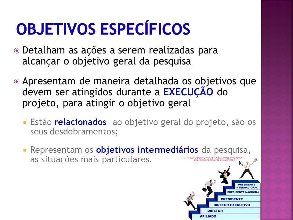 Detalham as ações a serem realizadas para alcançar o objetivo geral da pesquisa Apresentam de maneira detalhada os objetivos que devem ser atingidos d