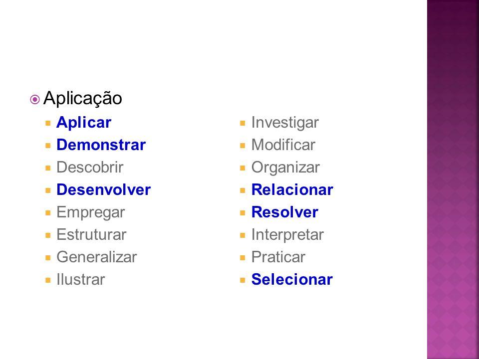 Aplicação Aplicar Demonstrar Descobrir Desenvolver Empregar Estruturar Generalizar Ilustrar Investigar Modificar Organizar Relacionar Resolver Interpr
