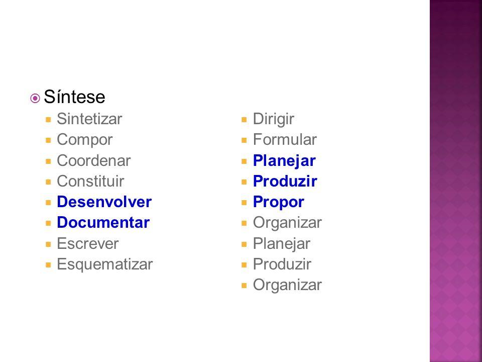 Síntese Sintetizar Compor Coordenar Constituir Desenvolver Documentar Escrever Esquematizar Dirigir Formular Planejar Produzir Propor Organizar Planej