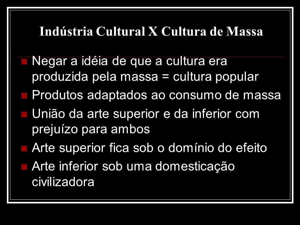 Indústria Cultural X Cultura de Massa Negar a idéia de que a cultura era produzida pela massa = cultura popular Produtos adaptados ao consumo de massa União da arte superior e da inferior com prejuízo para ambos Arte superior fica sob o domínio do efeito Arte inferior sob uma domesticação civilizadora