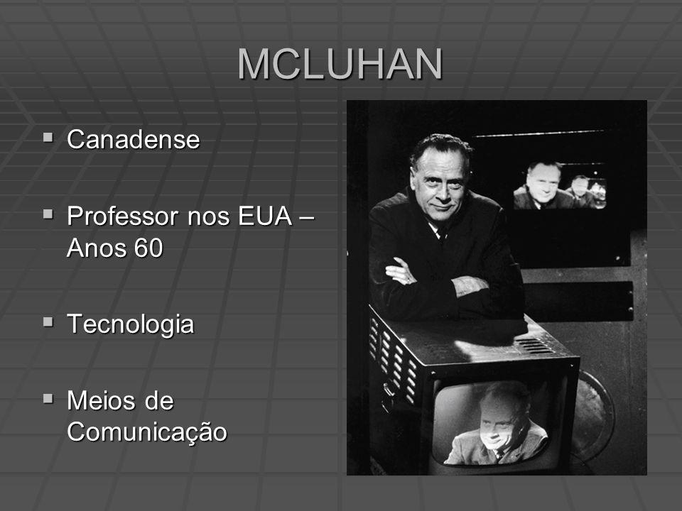 MCLUHAN Canadense Canadense Professor nos EUA – Anos 60 Professor nos EUA – Anos 60 Tecnologia Tecnologia Meios de Comunicação Meios de Comunicação