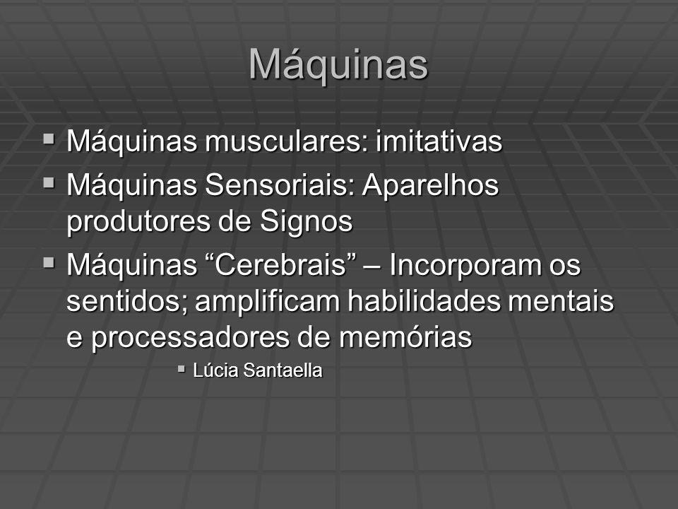 Máquinas Máquinas musculares: imitativas Máquinas musculares: imitativas Máquinas Sensoriais: Aparelhos produtores de Signos Máquinas Sensoriais: Apar