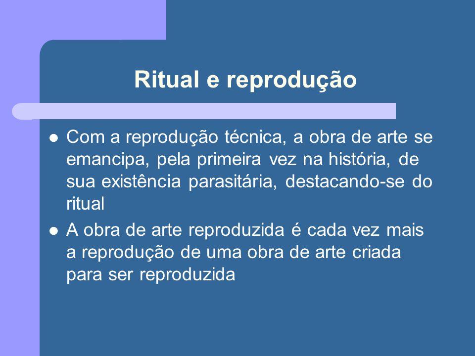 Ritual e reprodução Com a reprodução técnica, a obra de arte se emancipa, pela primeira vez na história, de sua existência parasitária, destacando-se do ritual A obra de arte reproduzida é cada vez mais a reprodução de uma obra de arte criada para ser reproduzida
