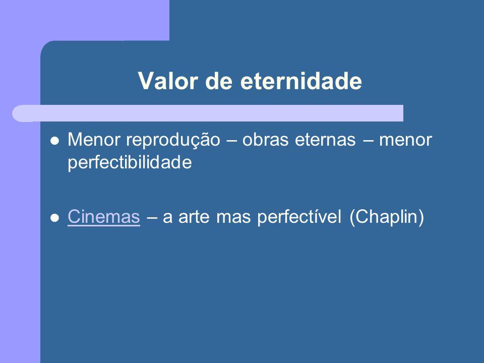 Valor de eternidade Menor reprodução – obras eternas – menor perfectibilidade Cinemas – a arte mas perfectível (Chaplin) Cinemas